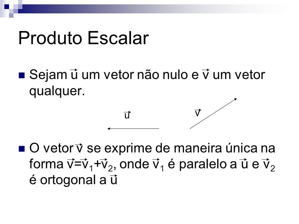 Produto Escalar Sejam u um vetor não nulo e v um vetor qualquer. O vetor v se exprime de maneira única na forma v=v 1 +v 2, onde v 1 é paralelo a u e
