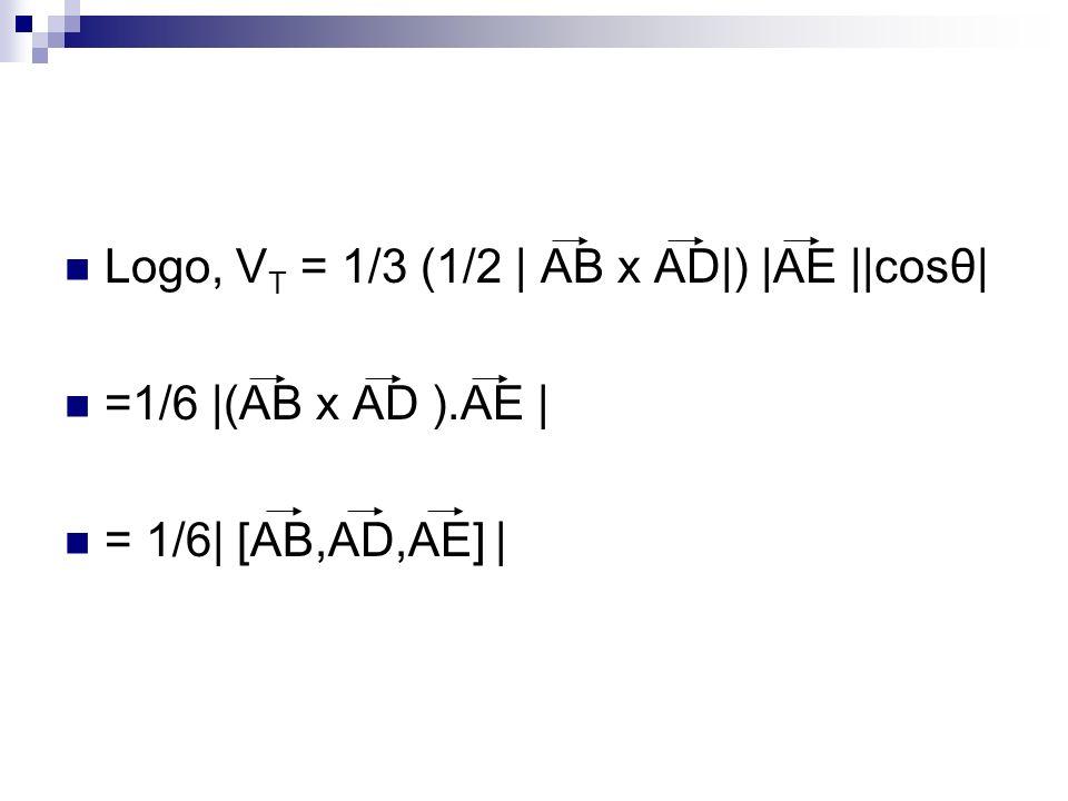 Logo, V T = 1/3 (1/2 | AB x AD|) |AE ||cosθ| =1/6 |(AB x AD ).AE | = 1/6| [AB,AD,AE] |