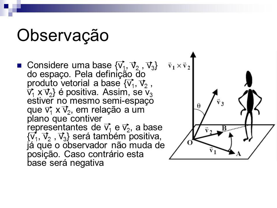 Observação Considere uma base {v 1, v 2, v 3 } do espaço. Pela definição do produto vetorial a base {v 1, v 2, v 1 x v 2 } é positiva. Assim, se v 3 e