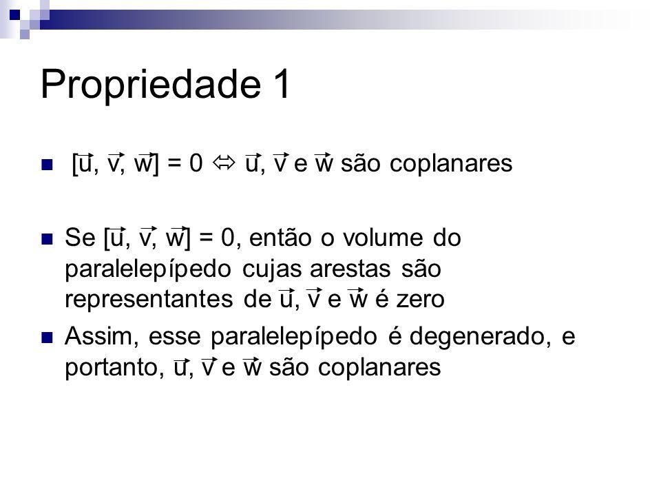 Propriedade 1 [u, v, w] = 0 u, v e w são coplanares Se [u, v, w] = 0, então o volume do paralelepípedo cujas arestas são representantes de u, v e w é