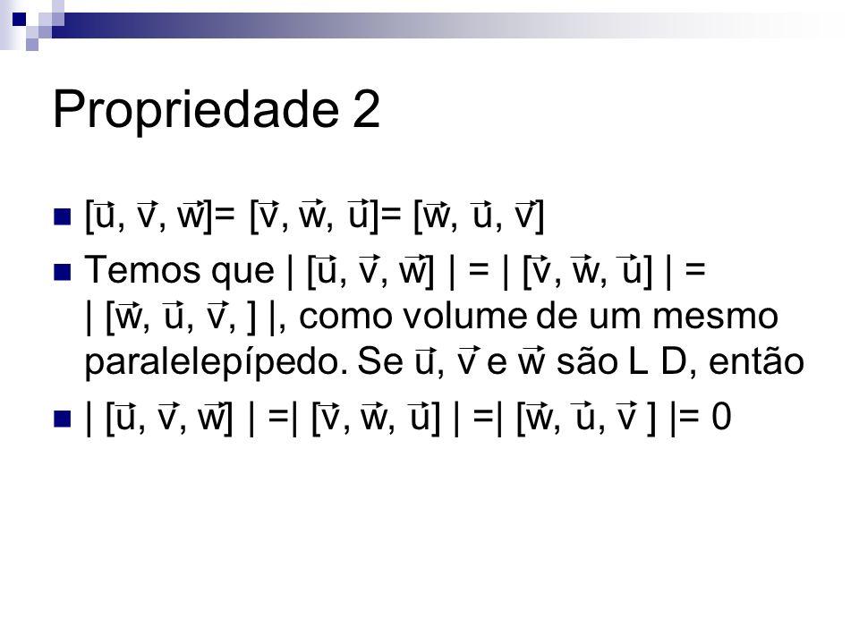 Propriedade 2 [u, v, w]= [v, w, u]= [w, u, v] Temos que | [u, v, w] | = | [v, w, u] | = | [w, u, v, ] |, como volume de um mesmo paralelepípedo. Se u,