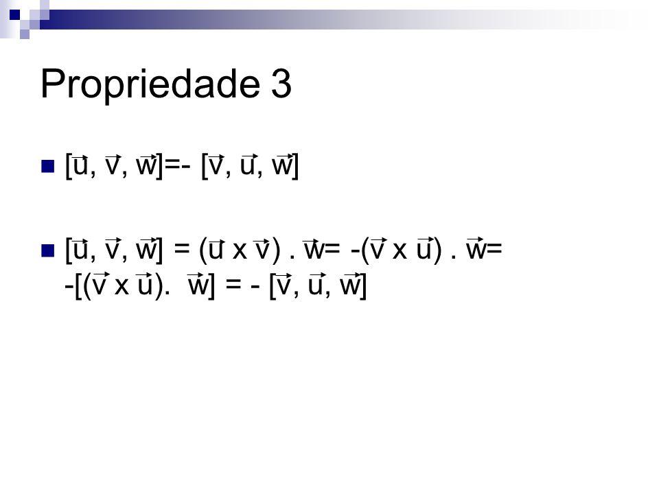 Propriedade 3 [u, v, w]=- [v, u, w] [u, v, w] = (u x v). w= -(v x u). w= -[(v x u). w] = - [v, u, w]