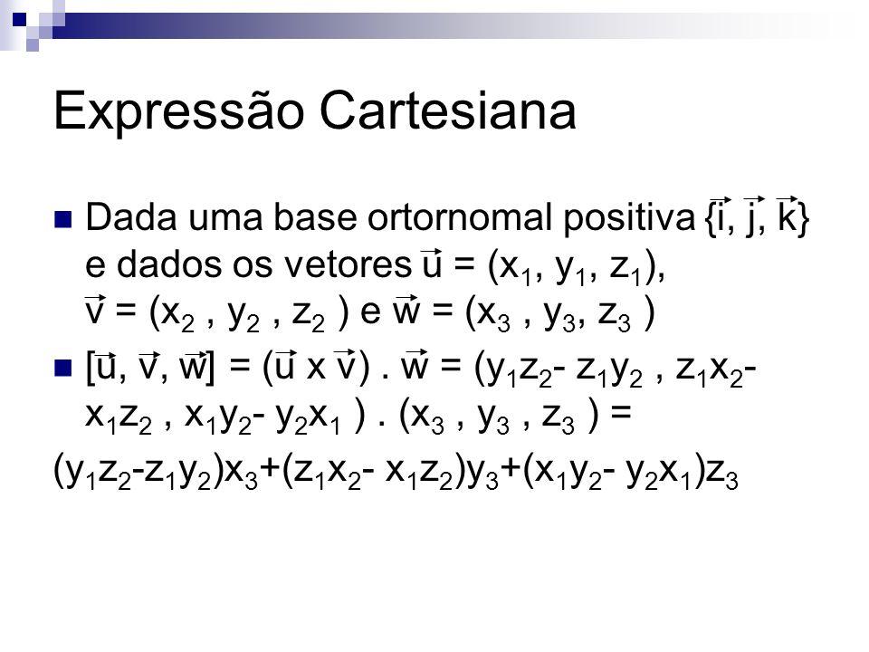 Expressão Cartesiana Dada uma base ortornomal positiva {i, j, k} e dados os vetores u = (x 1, y 1, z 1 ), v = (x 2, y 2, z 2 ) e w = (x 3, y 3, z 3 )