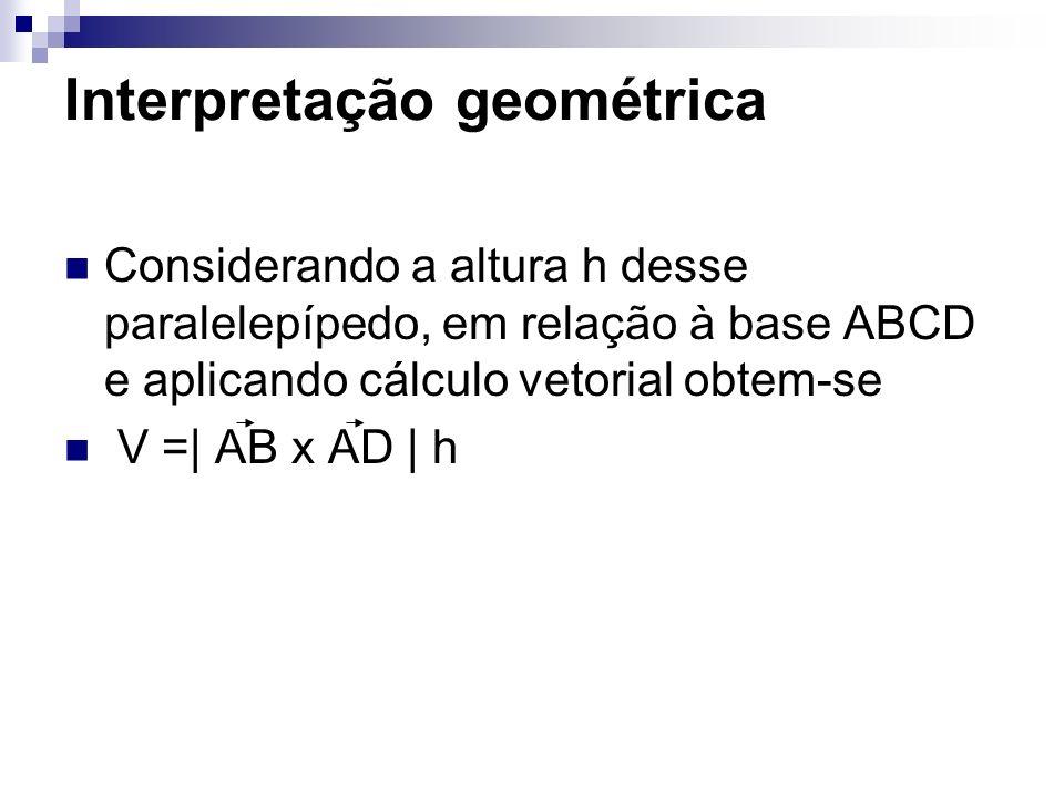 Considerando a altura h desse paralelepípedo, em relação à base ABCD e aplicando cálculo vetorial obtem-se V =| AB x AD | h Interpretação geométrica