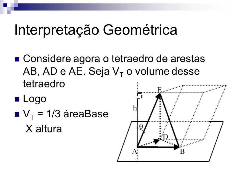 Interpretação Geométrica Considere agora o tetraedro de arestas AB, AD e AE. Seja V T o volume desse tetraedro Logo V T = 1/3 áreaBase X altura