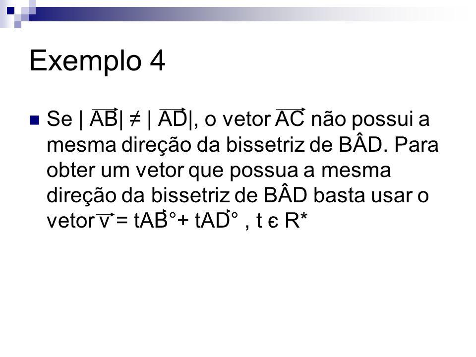Exemplo 4 Se | AB| | AD|, o vetor AC não possui a mesma direção da bissetriz de BÂD. Para obter um vetor que possua a mesma direção da bissetriz de BÂ