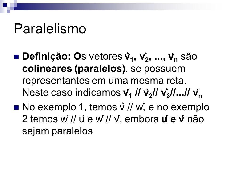 Paralelismo Definição: Os vetores v 1, v 2,..., v n são colineares (paralelos), se possuem representantes em uma mesma reta. Neste caso indicamos v 1