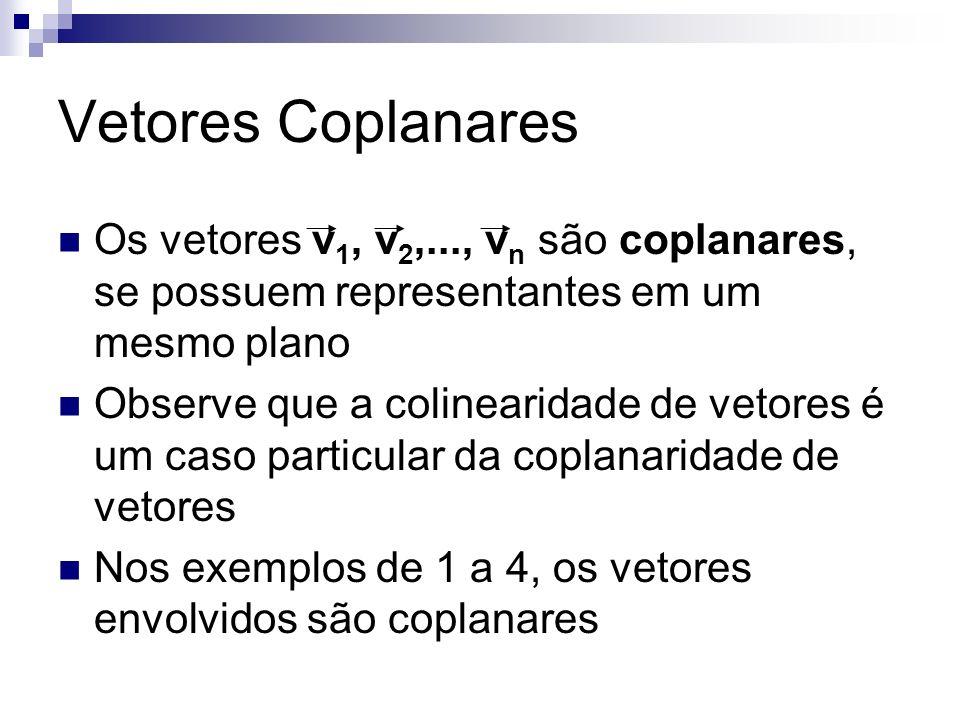 Vetores Coplanares Os vetores v 1, v 2,..., v n são coplanares, se possuem representantes em um mesmo plano Observe que a colinearidade de vetores é u