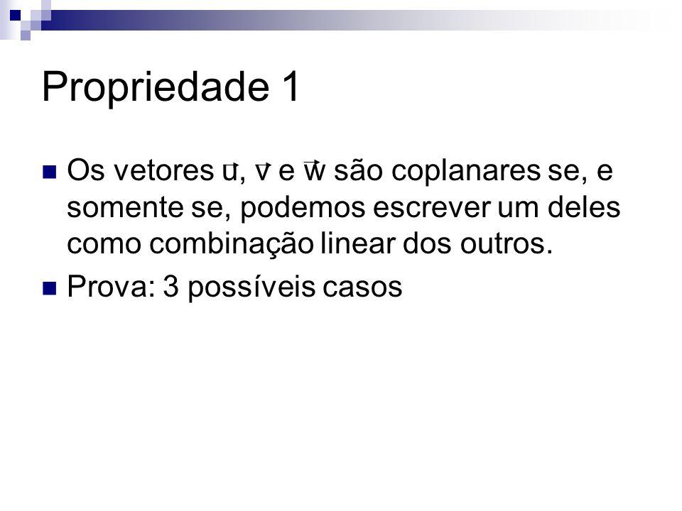 Propriedade 1 Os vetores u, v e w são coplanares se, e somente se, podemos escrever um deles como combinação linear dos outros. Prova: 3 possíveis cas
