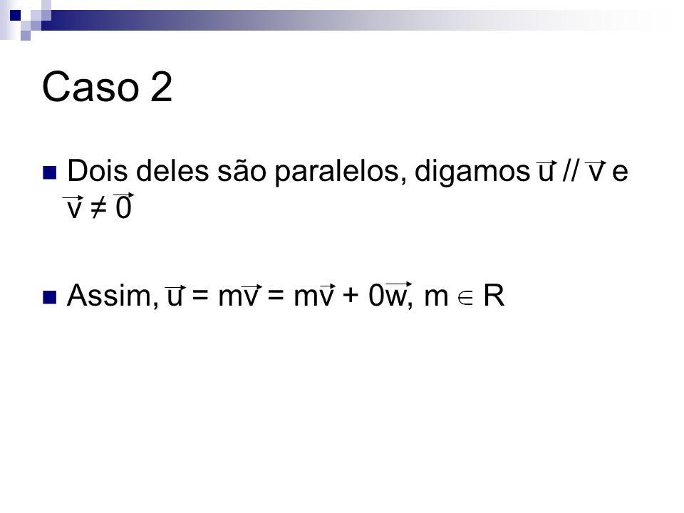 Caso 2 Dois deles são paralelos, digamos u // v e v 0 Assim, u = mv = mv + 0w, m R