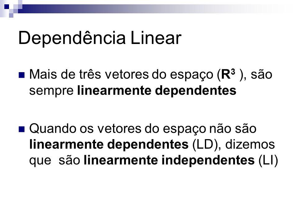 Dependência Linear Mais de três vetores do espaço (R 3 ), são sempre linearmente dependentes Quando os vetores do espaço não são linearmente dependent