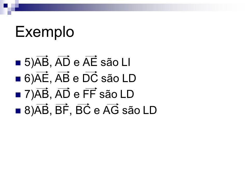 Exemplo 5)AB, AD e AE são LI 6)AE, AB e DC são LD 7)AB, AD e FF são LD 8)AB, BF, BC e AG são LD