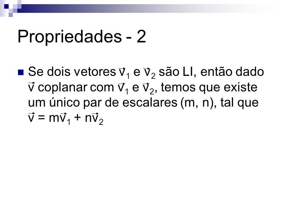 Propriedades - 2 Se dois vetores v 1 e v 2 são LI, então dado v coplanar com v 1 e v 2, temos que existe um único par de escalares (m, n), tal que v =