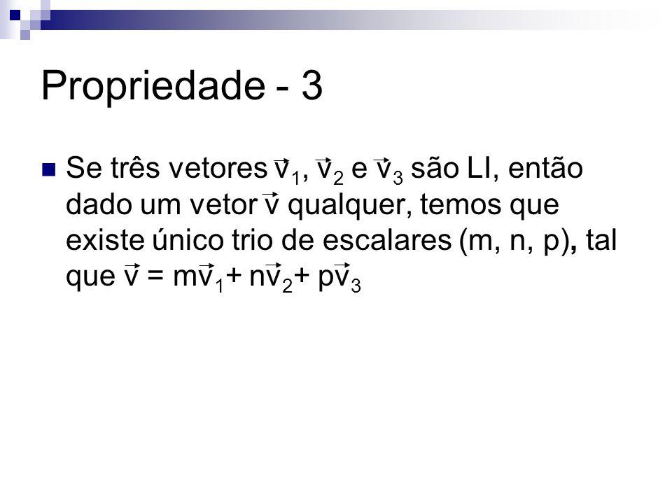 Propriedade - 3 Se três vetores v 1, v 2 e v 3 são LI, então dado um vetor v qualquer, temos que existe único trio de escalares (m, n, p), tal que v =