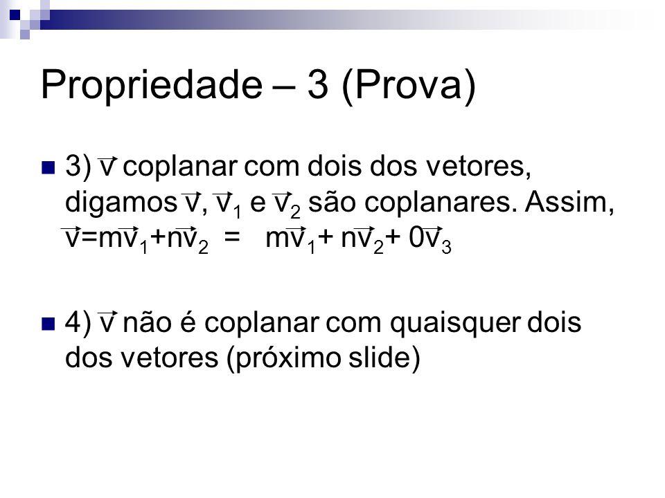 Propriedade – 3 (Prova) 3) v coplanar com dois dos vetores, digamos v, v 1 e v 2 são coplanares. Assim, v=mv 1 +nv 2 = mv 1 + nv 2 + 0v 3 4) v não é c
