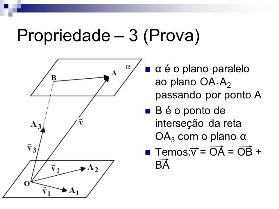 Propriedade – 3 (Prova) α é o plano paralelo ao plano OA 1 A 2 passando por ponto A B é o ponto de interseção da reta OA 3 com o plano α Temos:v = OA