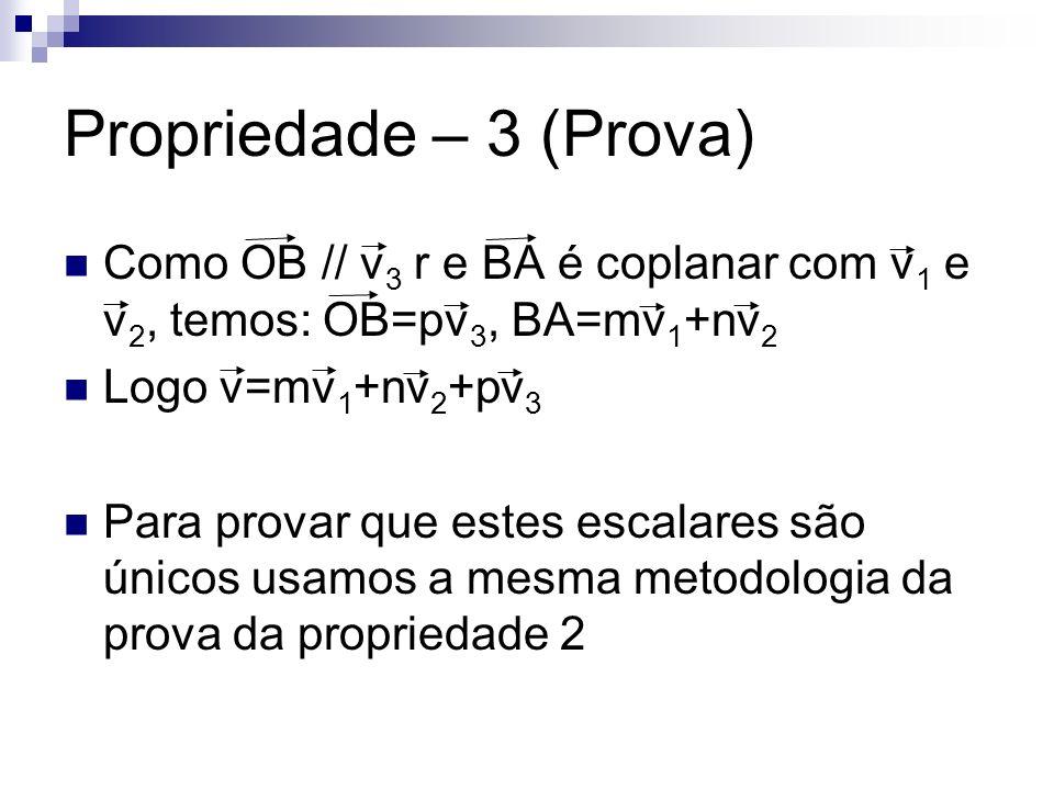 Como OB // v 3 r e BA é coplanar com v 1 e v 2, temos: OB=pv 3, BA=mv 1 +nv 2 Logo v=mv 1 +nv 2 +pv 3 Para provar que estes escalares são únicos usamo