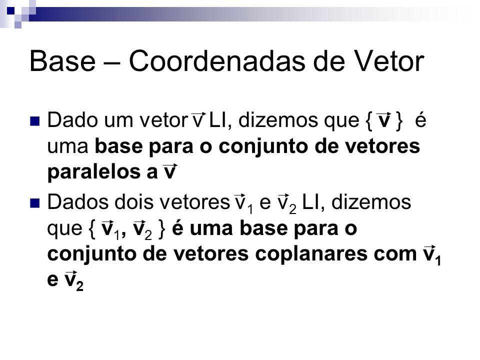 Base – Coordenadas de Vetor Dado um vetor v LI, dizemos que { v } é uma base para o conjunto de vetores paralelos a v Dados dois vetores v 1 e v 2 LI,
