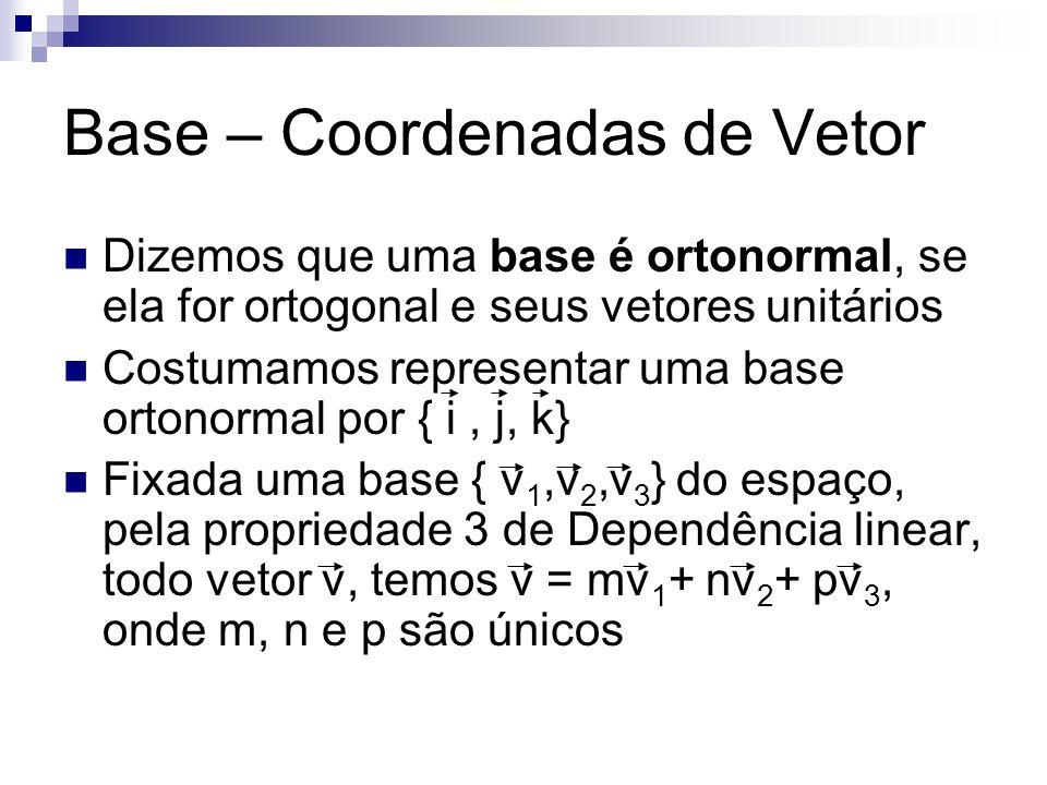 Base – Coordenadas de Vetor Dizemos que uma base é ortonormal, se ela for ortogonal e seus vetores unitários Costumamos representar uma base ortonorma