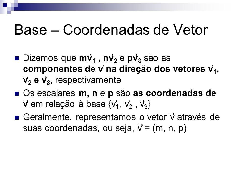 Base – Coordenadas de Vetor Dizemos que mv 1, nv 2 e pv 3 são as componentes de v na direção dos vetores v 1, v 2 e v 3, respectivamente Os escalares