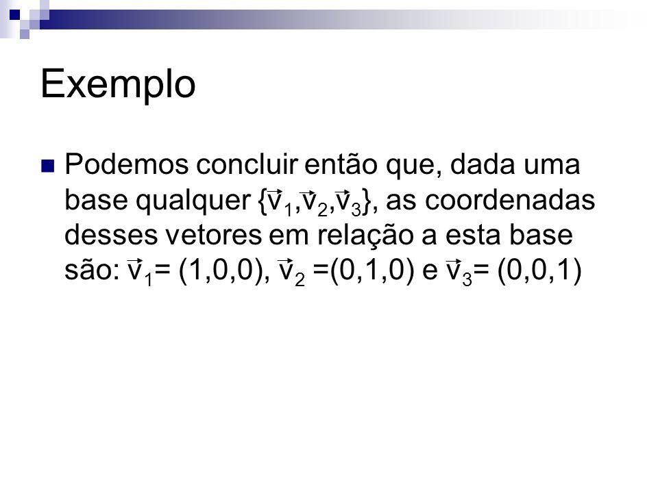 Exemplo Podemos concluir então que, dada uma base qualquer {v 1,v 2,v 3 }, as coordenadas desses vetores em relação a esta base são: v 1 = (1,0,0), v