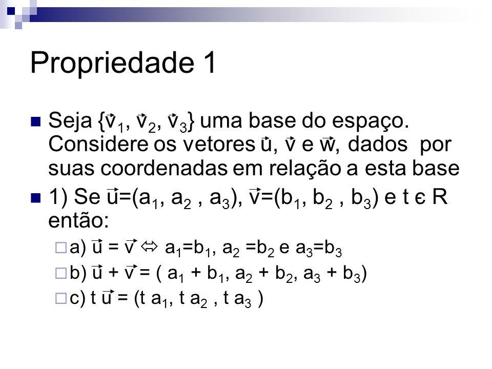 Propriedade 1 Seja {v 1, v 2, v 3 } uma base do espaço. Considere os vetores u, v e w, dados por suas coordenadas em relação a esta base 1) Se u=(a 1,