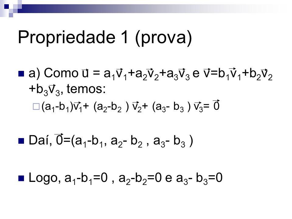 Propriedade 1 (prova) a) Como u = a 1 v 1 +a 2 v 2 +a 3 v 3 e v=b 1 v 1 +b 2 v 2 +b 3 v 3, temos: (a 1 -b 1 )v 1 + (a 2 -b 2 ) v 2 + (a 3 - b 3 ) v 3