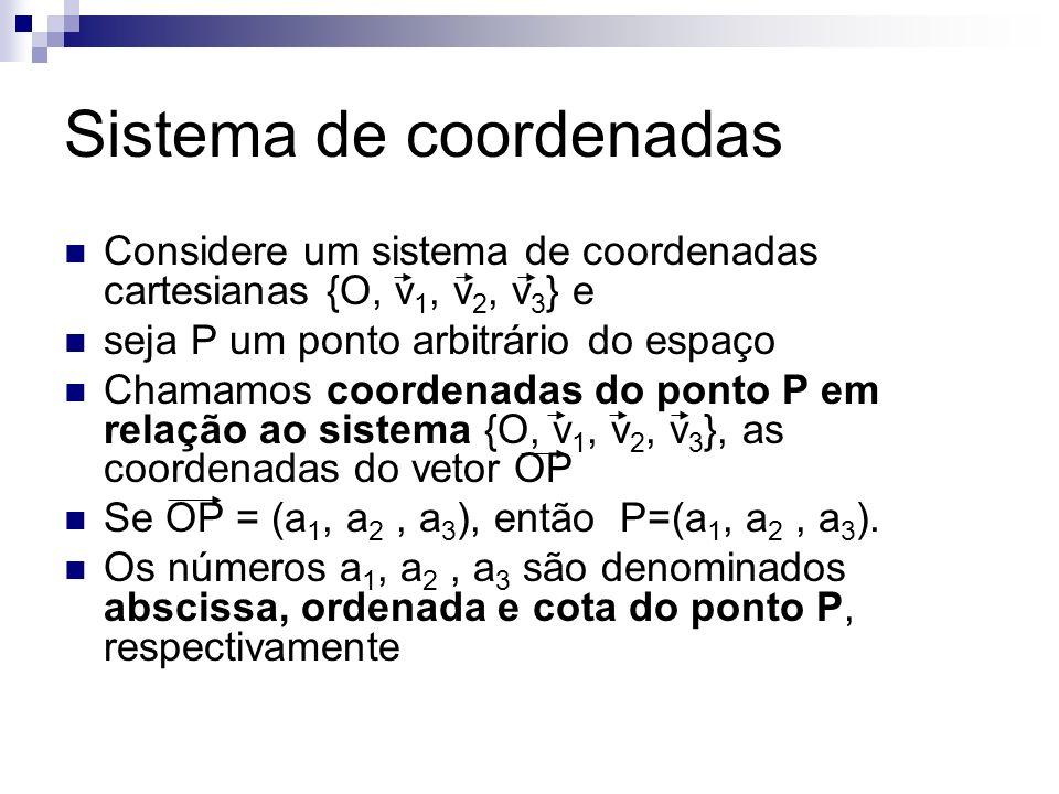 Sistema de coordenadas Considere um sistema de coordenadas cartesianas {O, v 1, v 2, v 3 } e seja P um ponto arbitrário do espaço Chamamos coordenadas