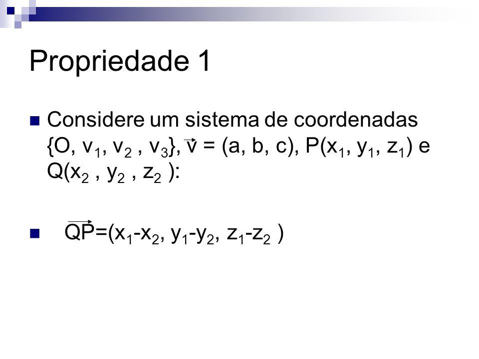 Propriedade 1 Considere um sistema de coordenadas {O, v 1, v 2, v 3 }, v = (a, b, c), P(x 1, y 1, z 1 ) e Q(x 2, y 2, z 2 ): QP=(x 1 -x 2, y 1 -y 2, z