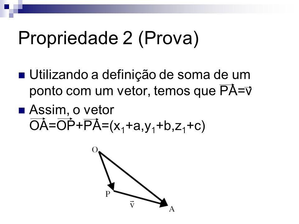 Propriedade 2 (Prova) Utilizando a definição de soma de um ponto com um vetor, temos que PA=v Assim, o vetor OA=OP+PA=(x 1 +a,y 1 +b,z 1 +c)