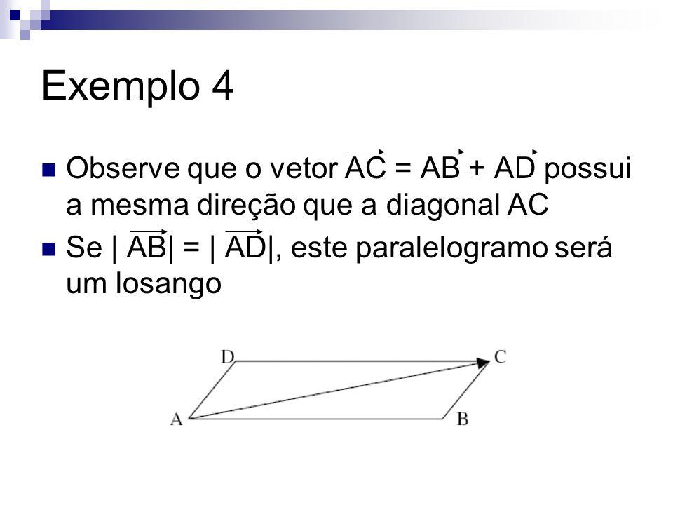 Exemplo 4 Sabe-se que em um losango ABCD, a bissetriz do ângulo BÂD contém a diagonal AC.