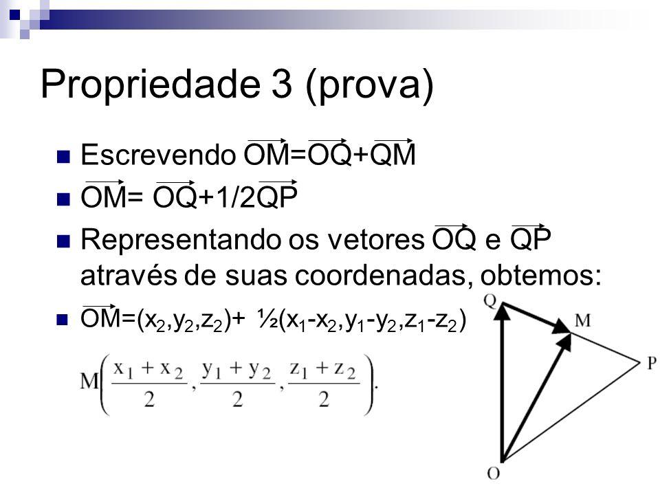 Propriedade 3 (prova) Escrevendo OM=OQ+QM OM= OQ+1/2QP Representando os vetores OQ e QP através de suas coordenadas, obtemos: OM=(x 2,y 2,z 2 )+ ½(x 1