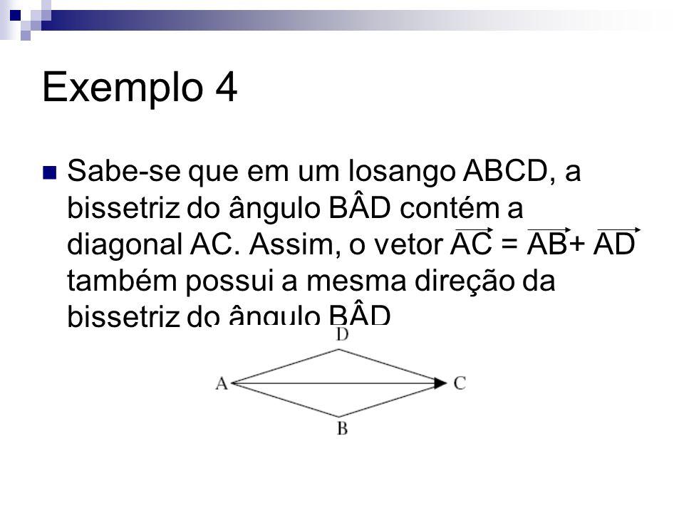 Exemplo 4 Sabe-se que em um losango ABCD, a bissetriz do ângulo BÂD contém a diagonal AC. Assim, o vetor AC = AB+ AD também possui a mesma direção da