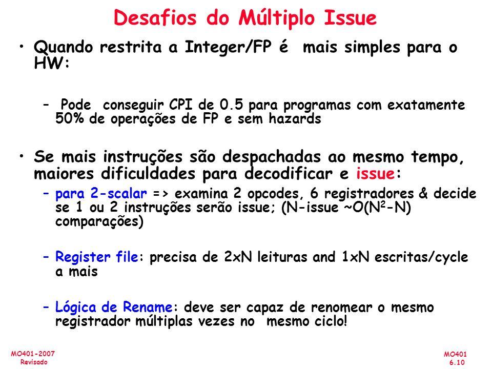 MO401 6.10 MO401-2007 Revisado Desafios do Múltiplo Issue Quando restrita a Integer/FP é mais simples para o HW: – Pode conseguir CPI de 0.5 para prog