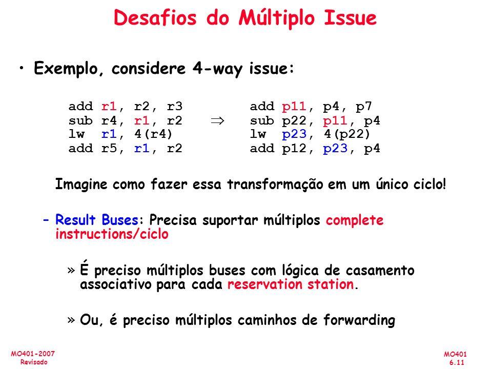 MO401 6.11 MO401-2007 Revisado Desafios do Múltiplo Issue Exemplo, considere 4-way issue: add r1, r2, r3add p11, p4, p7 sub r4, r1, r2 sub p22, p11, p
