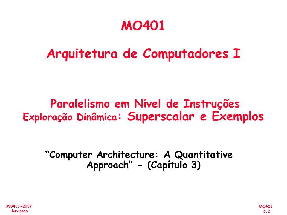 MO401 6.2 MO401-2007 Revisado MO401 Arquitetura de Computadores I Paralelismo em Nível de Instruções Exploração Dinâmica : Superscalar e Exemplos Comp