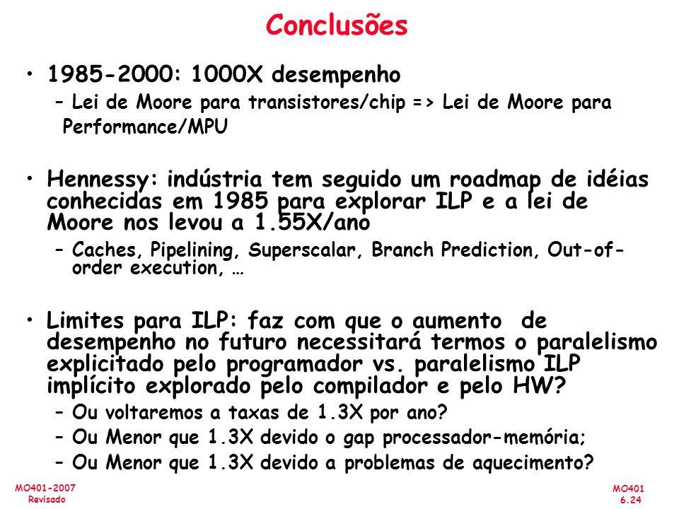 MO401 6.24 MO401-2007 Revisado Conclusões 1985-2000: 1000X desempenho –Lei de Moore para transistores/chip => Lei de Moore para Performance/MPU Hennes