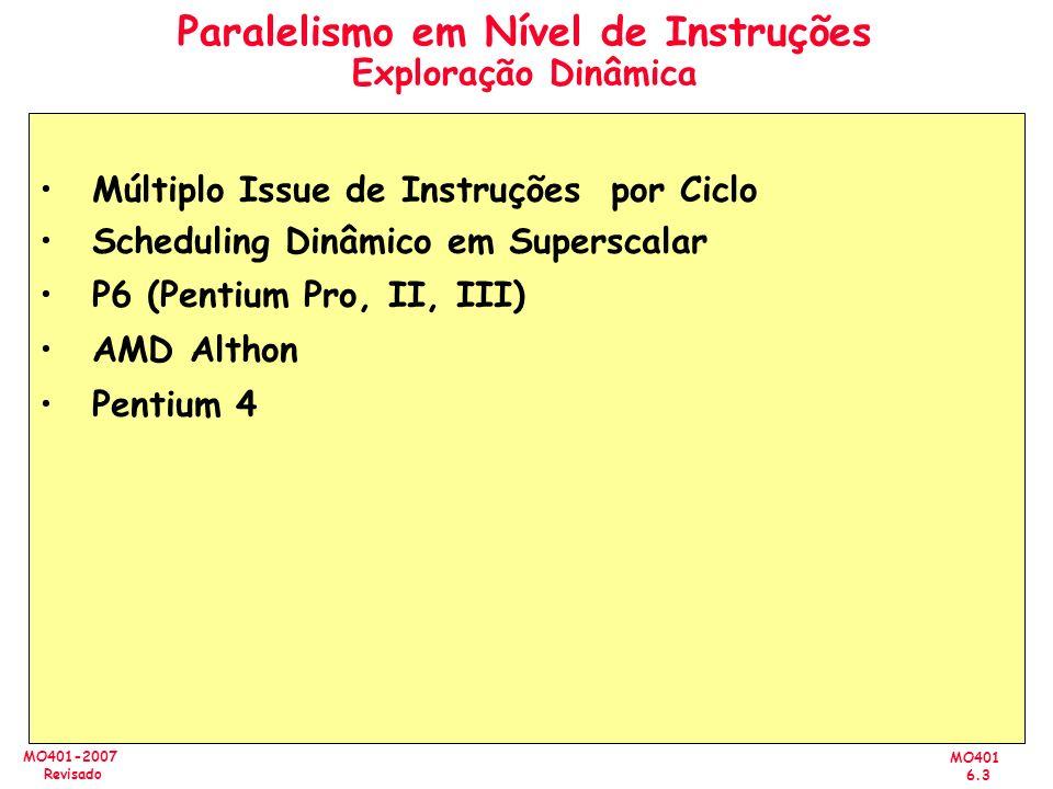 MO401 6.3 MO401-2007 Revisado Paralelismo em Nível de Instruções Exploração Dinâmica Múltiplo Issue de Instruções por Ciclo Scheduling Dinâmico em Sup