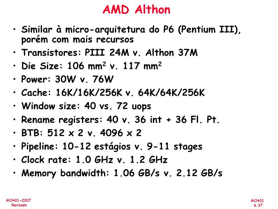 MO401 6.37 MO401-2007 Revisado AMD Althon Similar à micro-arquitetura do P6 (Pentium III), porém com mais recursos Transistores: PIII 24M v. Althon 37