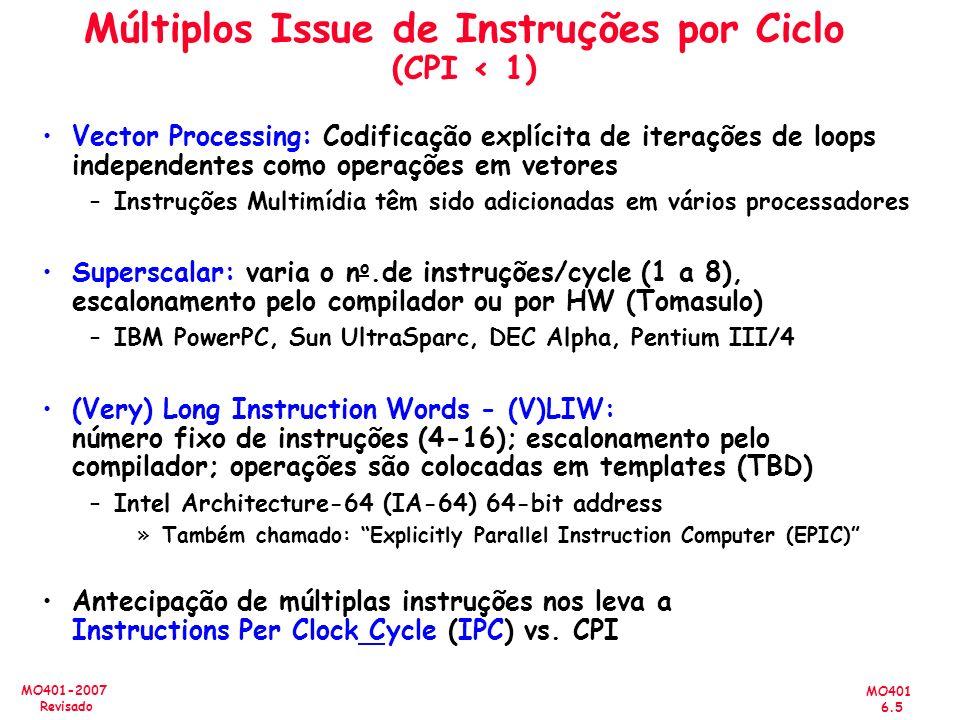 MO401 6.5 MO401-2007 Revisado Múltiplos Issue de Instruções por Ciclo (CPI < 1) Vector Processing: Codificação explícita de iterações de loops indepen