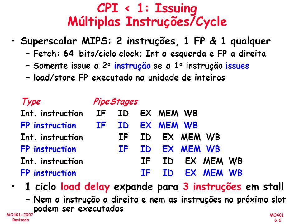 MO401 6.6 MO401-2007 Revisado CPI < 1: Issuing Múltiplas Instruções/Cycle Superscalar MIPS: 2 instruções, 1 FP & 1 qualquer – Fetch: 64-bits/ciclo clo