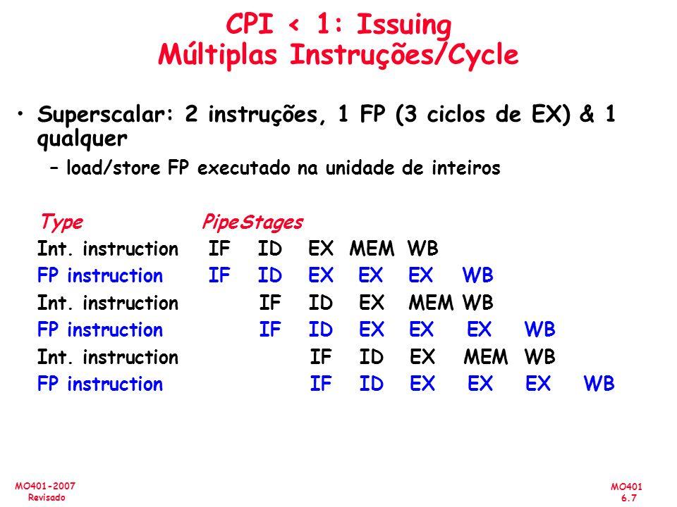 MO401 6.7 MO401-2007 Revisado CPI < 1: Issuing Múltiplas Instruções/Cycle Superscalar: 2 instruções, 1 FP (3 ciclos de EX) & 1 qualquer – load/store F