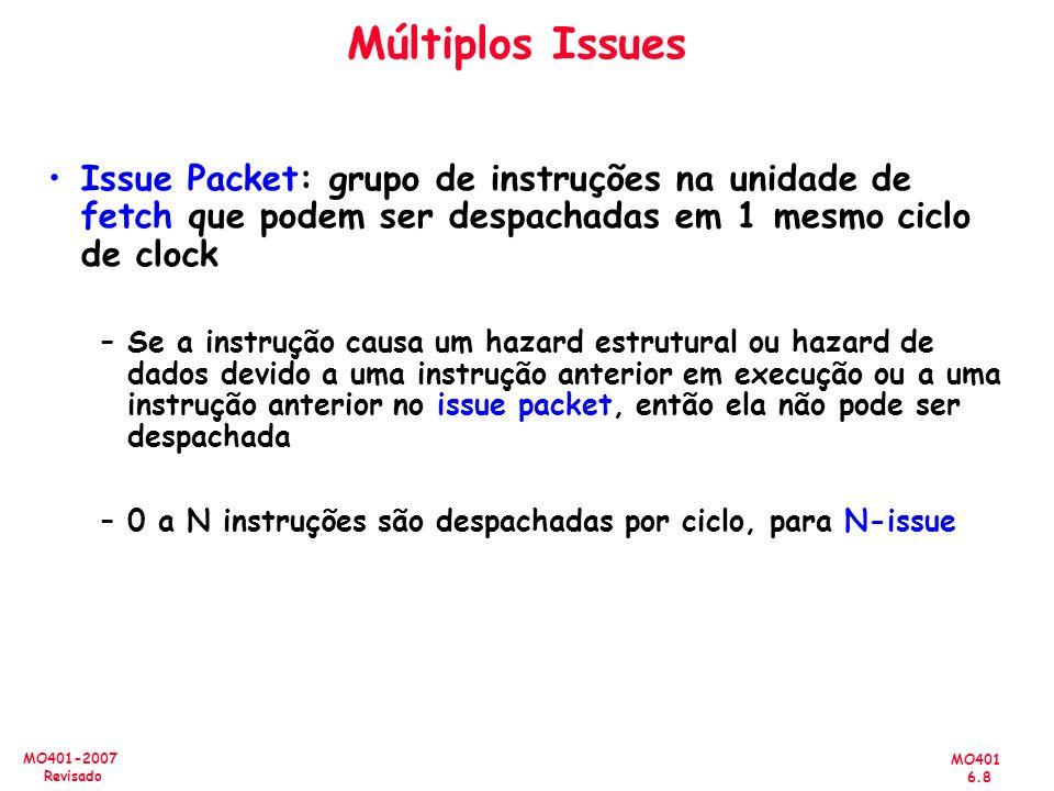 MO401 6.8 MO401-2007 Revisado Múltiplos Issues Issue Packet: grupo de instruções na unidade de fetch que podem ser despachadas em 1 mesmo ciclo de clo