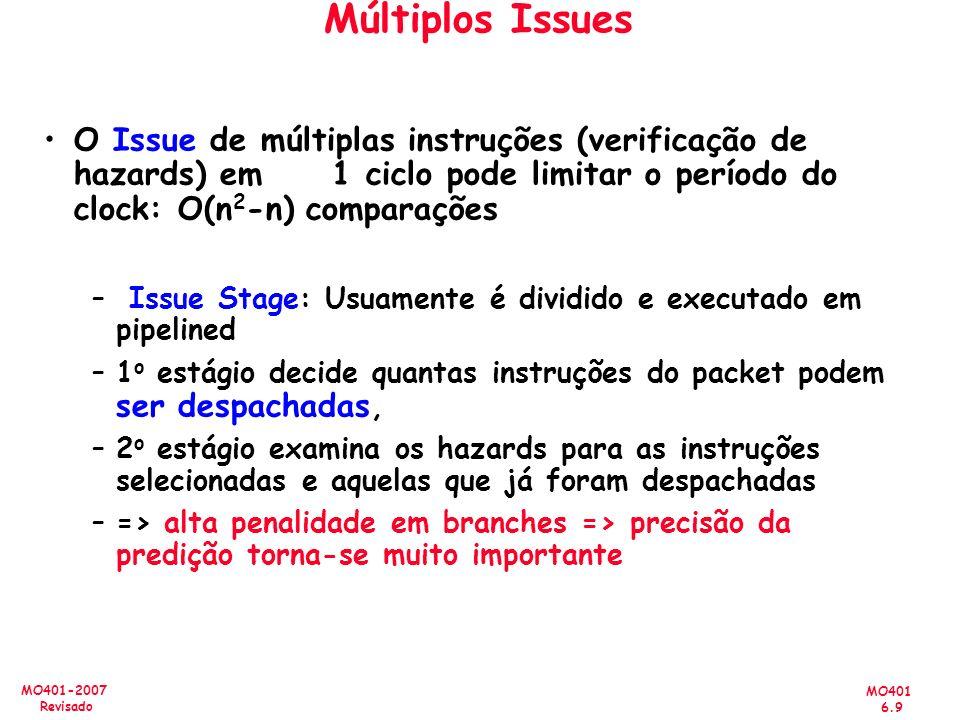 MO401 6.9 MO401-2007 Revisado Múltiplos Issues O Issue de múltiplas instruções (verificação de hazards) em 1 ciclo pode limitar o período do clock: O(