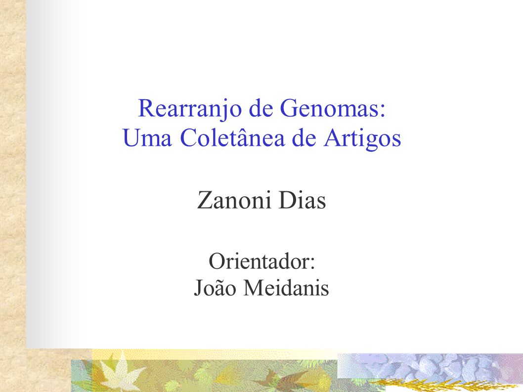 Rearranjo de Genomas: Uma Coletânea de Artigos Zanoni Dias Orientador: João Meidanis