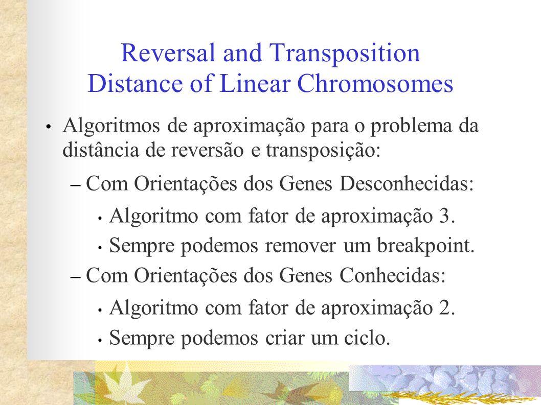 Reversal and Transposition Distance of Linear Chromosomes Algoritmos de aproximação para o problema da distância de reversão e transposição: – Com Ori