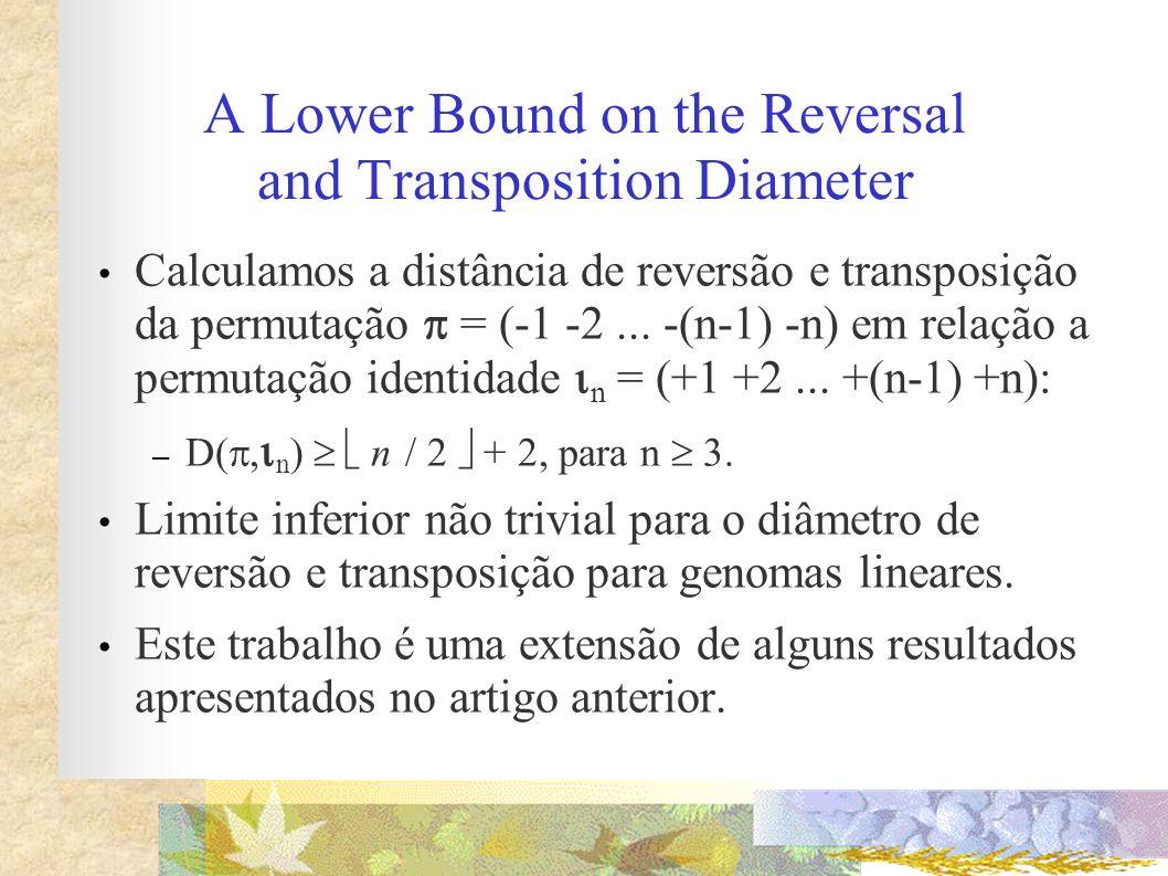 A Lower Bound on the Reversal and Transposition Diameter Calculamos a distância de reversão e transposição da permutação = (-1 -2... -(n-1) -n) em rel