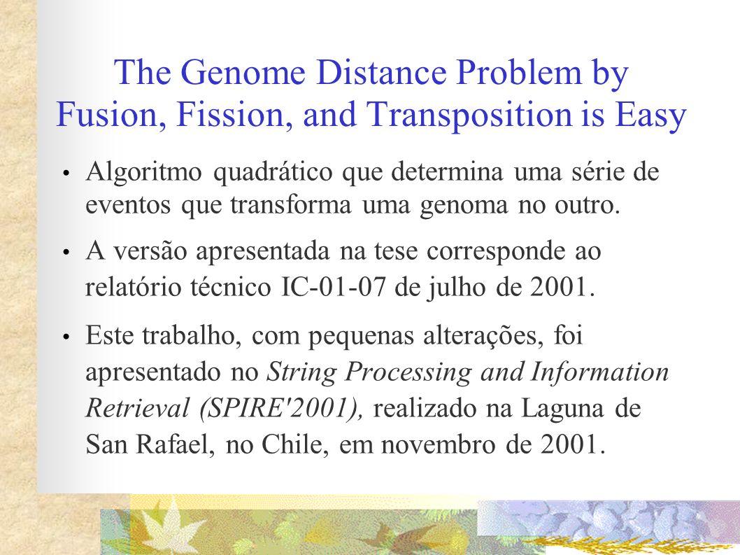 The Genome Distance Problem by Fusion, Fission, and Transposition is Easy Algoritmo quadrático que determina uma série de eventos que transforma uma g