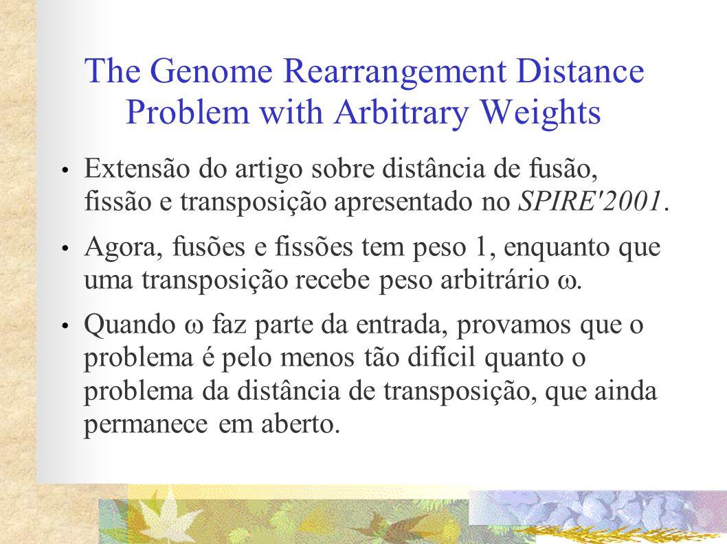 The Genome Rearrangement Distance Problem with Arbitrary Weights Extensão do artigo sobre distância de fusão, fissão e transposição apresentado no SPI