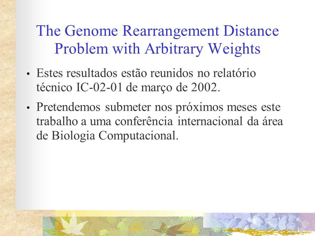 The Genome Rearrangement Distance Problem with Arbitrary Weights Estes resultados estão reunidos no relatório técnico IC-02-01 de março de 2002. Prete